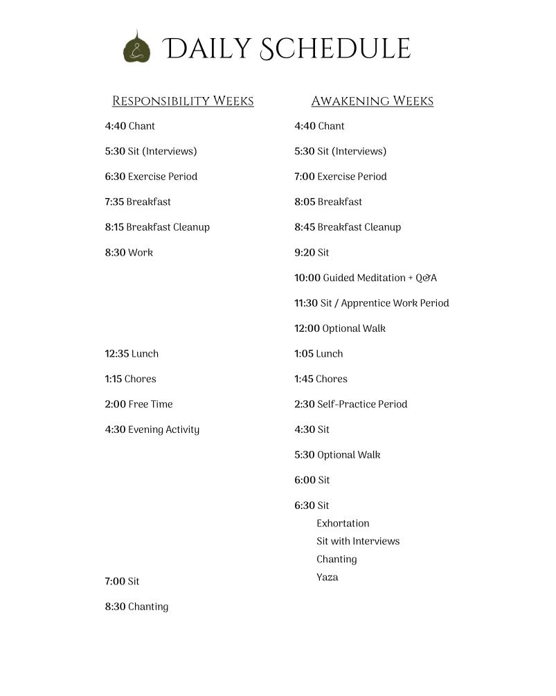 Monastic Academy Schedule